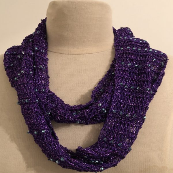 purple scarf with metallic crystal green-lined AB Beads