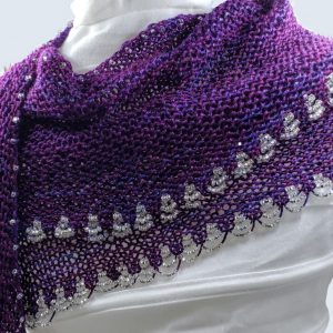 purple shawl with beads