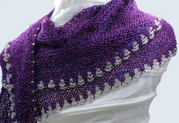 purple shawl with beads