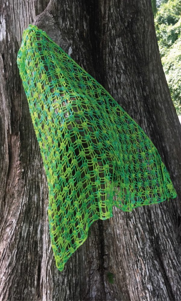 Green Crochet shawl with beads